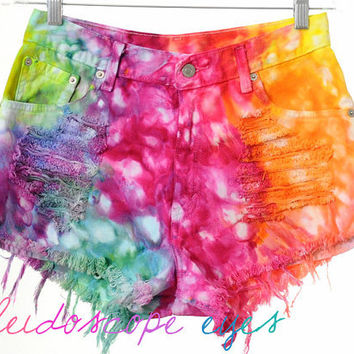 Vintage Levis Marbled RAINBOW Colorful Dyed Denim Destroyed High Waist Cut Off Shorts M L