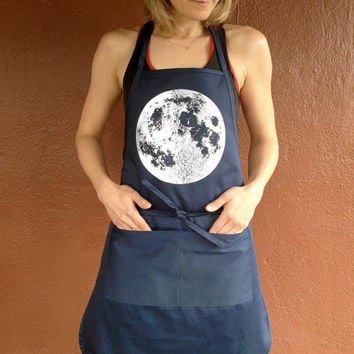 Metallic Foil printed Full Moon Apron, Navy silver or black pearl, kitchen or workshop use, polyester cotton, two pockets, soft and thick