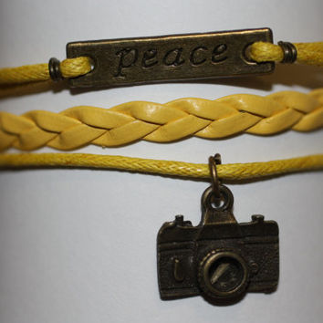 SHINE~ Handmade Peace Camera Charm Yellow Leather Wedding Photographer Gift Multilayer Handcrafted Bracelet ilovecheesygrits