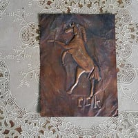 Vintage Copper Relief Picture Bucking Horse Metalwork Art