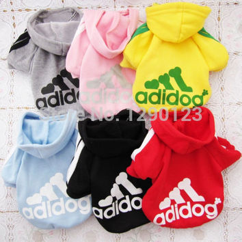 Dog clothes,pets coats,puppy dog hoodie Adidog clothes sweater costumes size S M L XL XXL 7 colors available. free shipping