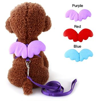 1 PC Adjustable Nylon Wings Pet Leads Harness Strap Collar Comfort Dog Pet Puppy Cat Rabbit Kitten Harness Leash Lead WA998 P30