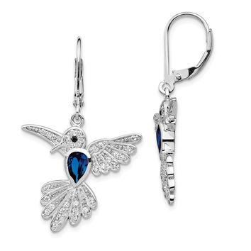 Sterling Silver Synthetic Sapphire Hummingbird Leverback Earrings