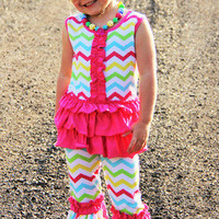 Rainbow Chevron Girls Outfit - Girls Chevron Clothes - Girls Rainbow Outfit - Girls Boutique Outfits - Back to School Clothes -