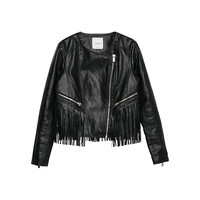 Buy Mango Fringe Jacket, Black | John Lewis