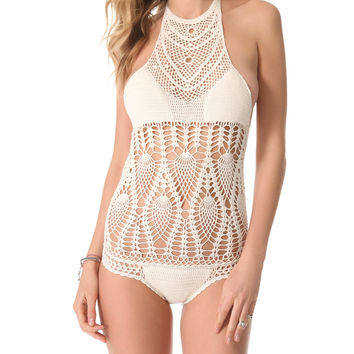 LISA MAREE | The Feathering Peacock Crochet One-Piece Swimsuit