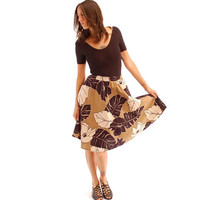 vintage neutral tone leaves circle skirt