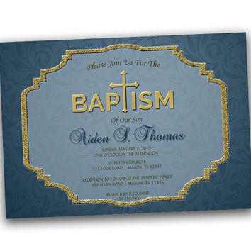 Scrollwork Gold or Silver Baptism Invitation for Boys - Navy Blue - Silver Trim - Gold Trim -  Cross - Spanish - Boy Baptism Christening