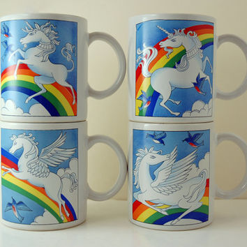Four Vintage Stoneware Mugs, 2 Rainbow and Unicorn, 2 Rainbow and Pegasus, Made in Japan