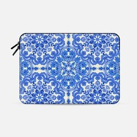 "Cobalt Blue & China White Folk Art Pattern Macbook Pro 15"" sleeve by Micklyn Le Feuvre 