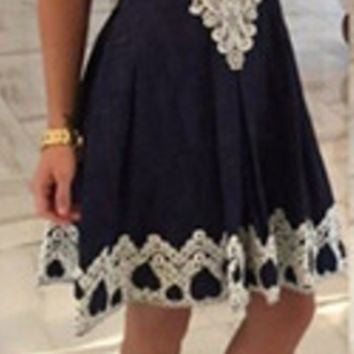 Floral Lace Trim Flare Dress