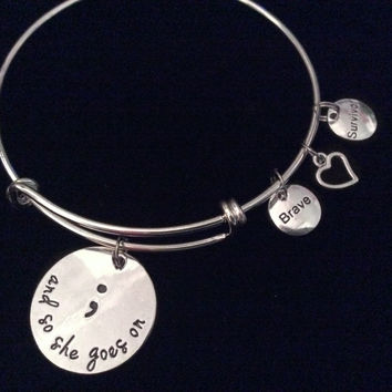 Brave Survivor And So She Goes On Semicolon Expandable Silver Charm Bracelet Adjustable Wire Bangle Inspirational Meaningful Trendy