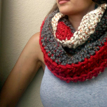 Summer Chunky Sale! Clearance, Red and Grey Infinity Scarf, Chunky Wool Crocheted Scarf, Artsy Unique Crochet Cowl, OOAK Handmade Scarf