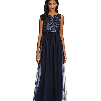 Vera Wang Sequined Popover Bodice Skirt Dress - Navy