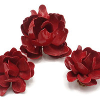 Red Enamel Rose Brooch And Earring Demi Parure