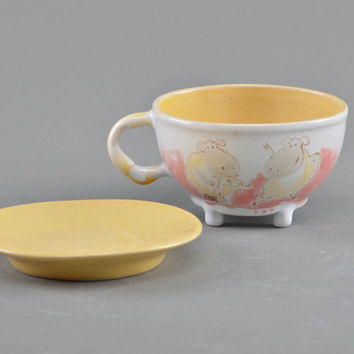 Handmade children's cup and saucer made of porcelain with painting Sheep