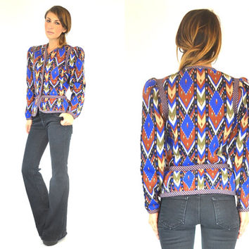 STRUCTURED southwestern arrowhead tribal blazer PEPLUM JACKET native american boho hippie, extra small-medium
