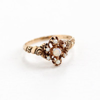 Antique 14k Rose Gold Opal & Seed Pearl Cluster Ring- Size 6.5 Late 1800s Victorian Era Fiery Gemstone Fine Jewelry
