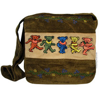 Grateful Dead - Dancing Bear Corduroy Messenger Bag on Sale for $32.95 at HippieShop.com