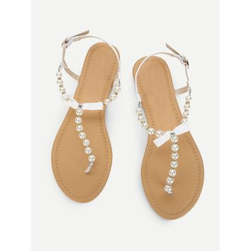 Faux Pearl Flat Sandals With Bow White