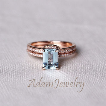 New Aquamarine Ring Set 6x8mm Emerald Cut Aquamarine  Ring 14K Rose Gold & Diamonds Engagement Ring/ Wedding Ring /Anniversary Ring