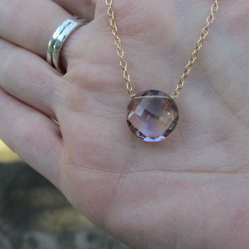 Ametrine Gold Necklace Amethyst Citrine by irisjewelrydesign