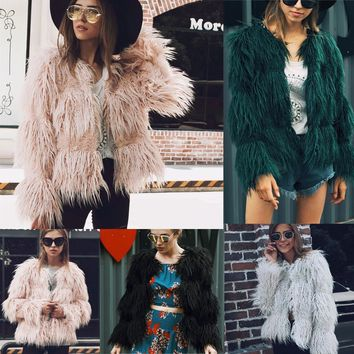 5 colors Plus Size 3XL Womens Black Fluffy Faux Fur Coats Jackets Pink Fake Fur Coats Women Winter Warm Coat Female Outerwear