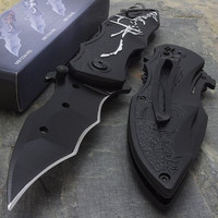 "7.75"" SPRING ASSISTED BATMAN DARK KNIGHT BLACK FOLDING TACTICAL KNIFE Pocket"