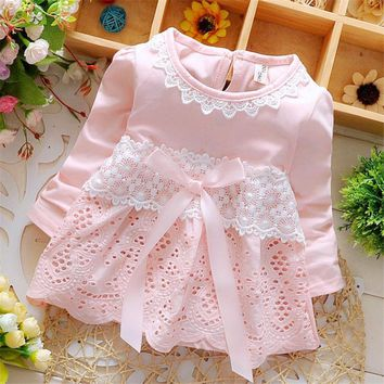 Lace Children Baby Girls Short-sleeved Dress