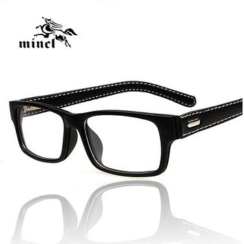 Gimmax square frame glasses vintage black leather eyeglasses frame myopia plain glass spectacles