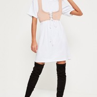 Missguided - White Corset Oversized Dress