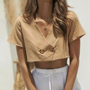 Crop Tops Blouse Fashion Sexy V Neck Crop Tops Female Casual Short Sleeve Shirt Blusa