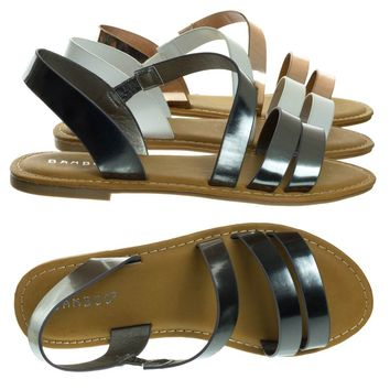 Coastline17s Pewter By Bamboo, Women's Open Toe Flat Gladiator Strappy Sandal w Elastic Straps