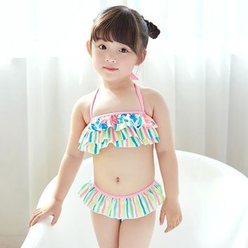 2017 new children swimming suit lovely color flowers and stripes bra cake split girls swimwear 2-piece kids Bikini swimsuit