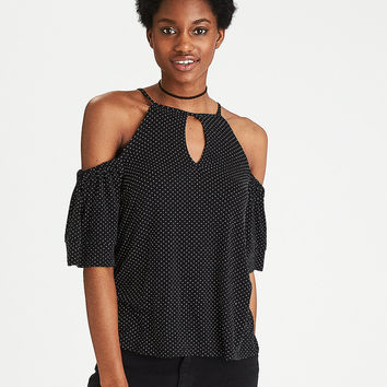 AEO Soft & Sexy Keyhole Cold Shoulder Top, Black
