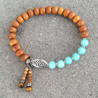 Sandalwood and amazonite mala bracelet