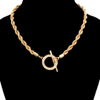 GOLD Hip Hop ROPE TOGGLE CHAIN Statement Necklace SHORT Metal Chain-16""