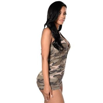 Summer Army Camouflage Women bodysuit Sexy V Neck Short Bodycon Jumpsuit button Romper overalls playsuit Femme