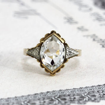 Vintage Deco Spinel Marquise Ring, 10k Yellow & White Gold Synthetic White Spinel, Circa 1930 Alternative Engagement Cocktail Statement Ring