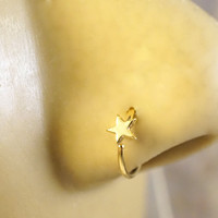 Gold Star Nose Hoop Ring