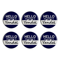 Yandel Hello My Name Is Plastic Resin Button Set of 6