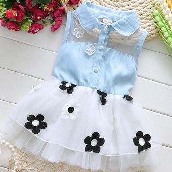 Summer new baby dress Korean baby girl's flower dress kids cowboy Dress A145