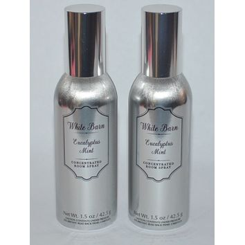2 Bath & Body Works White Barn EUCALYPTUS MINT Room Spray 1.5 oz