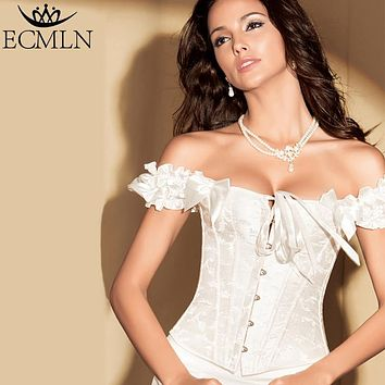 Women Sexy Satin Corset Brocade Floral Bustier Top Lace Up Back Lingerie Bodyshaper Shapewear Waist Exercise Corset Drop