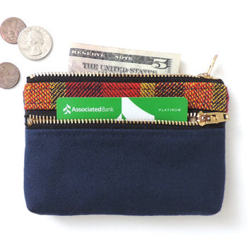 Wallet Coin Purse Double Zipper Pouch Canvas Wool Stripe