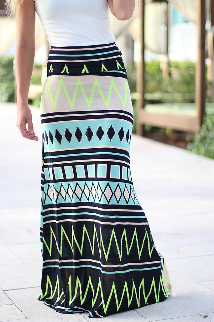 mint and neon yellow chevron maxi skirt from saved by the