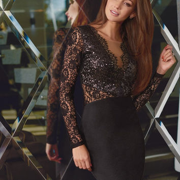 Black V-Neck Lace Mini Dress