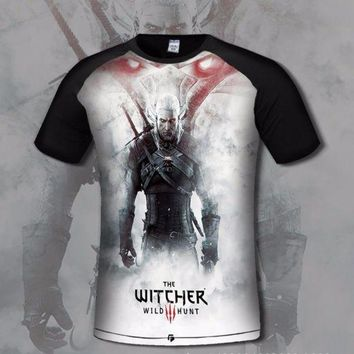 CREYLD1 SzBlaZe Brand New Digital The Witcher 3 Wild Hunt Print T Shirt Cosplay fashion Short Sleeve Shirt  Gamer clothing Oneck shirt