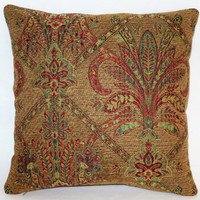 """Jewel Tone Brocade Pillow, 17"""" Sq, Gold Red Green Yellow Chenille Tapestry, Florentine Medallion, Cover Only or Insert Included, Ready Ship"""