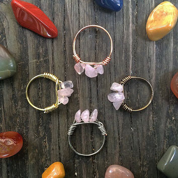 Rose Quartz Trinity Wire Wrapped Ring